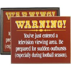 Football Warning Television Sign - Handcrafted wooden sign - Made in the USA - FREE SHIPPING