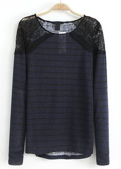 Navy Contrast Lace Long Sleeve Striped T-Shirt