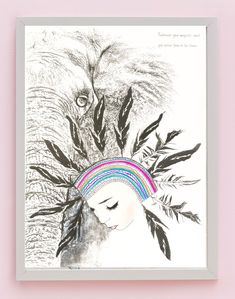 Fine art print One Sonny Day. Australian kids and children's art. Feather headdress, elephant, elephant art, spirit animal, guardian animal, spirit elephant. Perfect for wall art, little girls bedroom deco, children kids gifts, christening, baby shower, christmas present. Watercolour, painting, quote