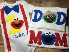 Boys sesame street first birthday bodysuit or tshirt with