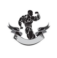 Bodybuilding and powerlifting concept, icon, banner, template, badge Gym Motivation Wallpaper, Bodybuilding Logo, Olympia Fitness, Human Icon, Gym Logo, Gym Decor, Sport Icon, Golden Star, Bear Art