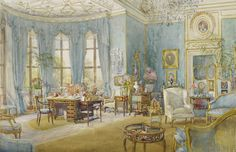 Blue wallpaper and curtains, gilt and white decorative ceiling. Various settees in blue and white, pictures on walls. Semi-circular bay with full length windows to left. A desk with various chairs in the bay.