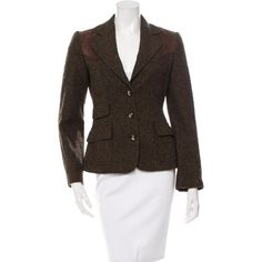 Pre-owned Dolce & Gabbana Wool Suede-Paneled Blazer ($245) ❤ liked on Polyvore featuring outerwear, jackets, blazers, green, suede leather jacket, brown suede jacket, brown jacket, woolen jacket and suede blazer