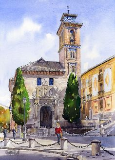 The third and last of my latest mini series of watercolours of Granada. This beautiful church dominates the Plaza Nueva in the centre of old Granada. It makes a lovelyarchitectural subject and I h...