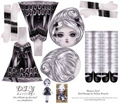Cut and Sew Doll Bianca Noir Gothic Lolita Girl fabric by selinafenech on Spoonflower - custom fabric