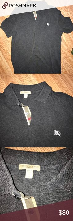 Authentic Burberry men's polo Authentic Burberry short sleeve polo in a charcoal grey color. Excellent condition no signs of wear. XL in men's. Burberry Shirts Polos