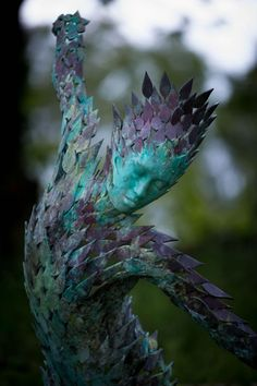 #Bronze #sculpture by #sculptor Simon Gudgeon titled: 'Aurora (abstract Contemporary Water Nymph Dryad nude statue sculpture)'. #SimonGudgeon