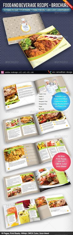 Food Recipe Brochure | Volume 1 #GraphicRiver Food And Beverage Recipe Brochure Booklet Specs : adobe indesign cs3, cs4, cs5, cs6 Format indd, inx Resolution 300 dpi Size A5 8.2×5.8 inch, plus 3mm Bleed Color CMYK Fonts : Arial : Standard Font Nexa Free Font: .fontfabric /nexa-free-font/ Created: 3May13 GraphicsFilesIncluded: InDesignINDD Layered: Yes MinimumAdobeCSVersion: CS3 PrintDimensions: 8.2x5.8 Tags: advertising #beverage #booklet #brochure #catalog #catalogs #clean