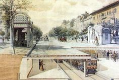 The second metroline of the world – the Millenium Underground of Budapest At the time of its completion in Andrássy Avenue with its sycamore alley, netly arranged villas and elegant tenement. Budapest, Big Ben, Bugs, Street View, World, Building, Travel, Painting, The World
