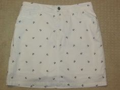 KOHL'S Sz 10 Golf Tennis Skort Skirt NWT White Navy Anchors Secretly Slimming  #Kohls #SkirtsSkortsDresses