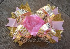 Blush Pink Bow with Gold Chevron Accents, Shabby Floral Center and Pearl Strands + How To Stiffen Hair Bows | SewsNBows