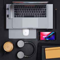 Satechi Type-C Pro Hub, Monitor Stand, Mouse Pad, Wireless Charging Pad, and Headphones