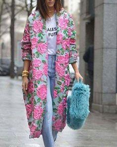 How to Style a Kimono Cardigan Next Spring 2019 Look Fashion, Spring Fashion, High Fashion, Autumn Fashion, Fashion Outfits, Womens Fashion, Fashion Trends, Feminine Fashion, Kimono Fashion