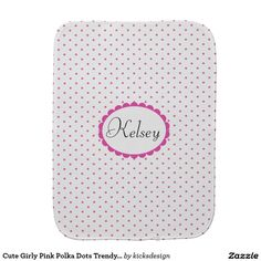 Cute Girly Pink Polka Dots Trendy Monogram Baby Burp Cloth