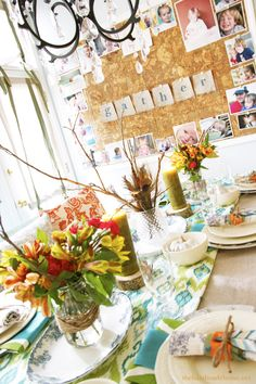 27 Gorgeous Thanksgiving Tablescapes: Pictured-Beautiful tablescape for an informal Thanksgiving!