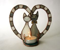 Stained glass candle holder Two cats. Grey & by MyVitraz on Etsy