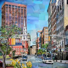 Tremont Street Boston.  Recycled paper collage artist