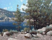 """Rock Creek Lake"" by Dennis Doheny, California's premier realist landscape painter. 24 x 30 inches."