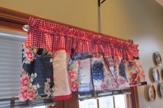 Hankie Chic Red Gingham Hankie Valance / Curtain with by jgchic, $65.00