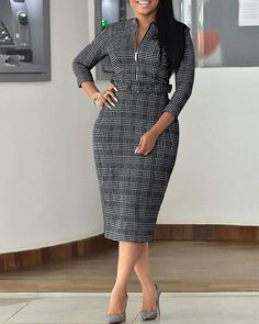 Zippered Midi Work Dress Shop Plaid Zippered Midi Work Dress right now, get great deals at Voguelily. Latest African Fashion Dresses, African Print Fashion, Women's Fashion Dresses, Classy Work Outfits, Classy Dress, Ladies Day Dresses, Dresses For Work, Midi Dress Work, Corporate Fashion