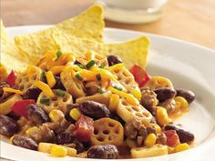 Taco Supper Skillet: substitue ground beef for more beans, use rice pasta noodles and add more veggies!