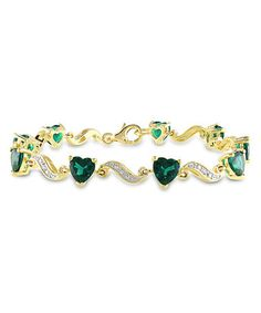 Another great find on #zulily! Simulated Emerald & Diamond Link Bracelet #zulilyfinds