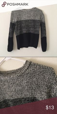 Dark Ombre Knitted Sweater Dark knitted sweater. Never been worn. Has a few loose threads but that can easily be fixed! Sweaters Crew & Scoop Necks
