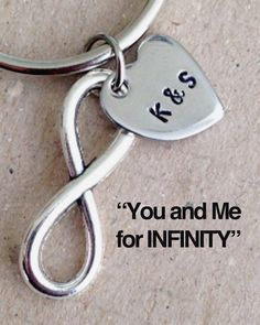 This infinity keychain is the perfect gift to give that special someone in your life to show them that you are theirs forever. It is also a great item to get for yourself as a constant reminder of that special person in your life. We hand stamp two initials of your choice on a heart charm, attach it to an infinity charm, and place it on a keychain ring.