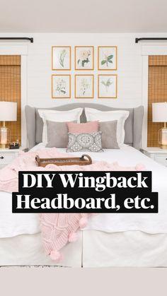 Couple Bedroom, Small Room Bedroom, Bedroom Decor, Small Rooms, Bedroom Ideas, Diy Bedroom Projects, Bed Room, Wingback Headboard, Shiplap Headboard