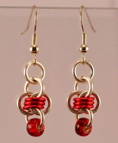 Chainmaille Barrels Earrings  Beaded Silver & Red
