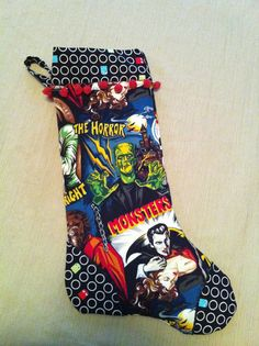 personalized Christmas stocking I made for my bf, incorporating his love of old horror movies and video games. Used pattern I bought on Etsy (see It's the Most Wonderful Time of the Year board for pinned pattern).