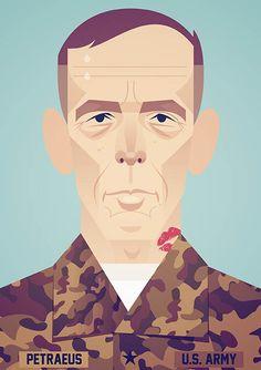 Illustration of Former head of CIA David Petraeus for the New Yorker magazine.