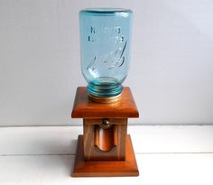 Vintage Ball Mason Jar Wooden Candy Dispenser