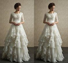 Ruffles Organza Lace Wedding Dress Bridal Gown Custom Size 4 6 8 10 12 14 16 18+