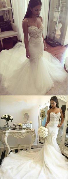 2017 Floor Length Gorgeous Mermaid Style Wedding Dress,Wedding Dress with Spaghetti Straps,Wedding Dress with Train,Delicate Lace Appliques Wedding Gown