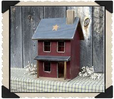 Lighted 2 Story Primitive House with Country Porch