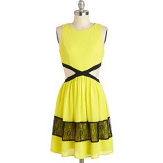ModCloth Neon Mid-length Sleeveless A-line Neon Top of the World Dress ($37) ❤ liked on Polyvore featuring dresses, yellow, yellow dresses, vestido, apparel, fashion dress, cut out dresses, a-line cocktail dresses, lace a line dress and lace party dresses