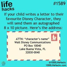 Write a letter to your favorite Disney character!!! Awesome Disney Fact