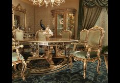 Exquisite Boulle marquetry work. This stunning high end dining table from our King Louis Collection is hand crafted by artisans who are among the world's most talented in the modern world.