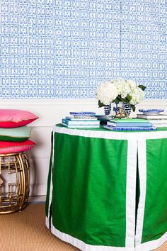 Round Table Skirt, Fret Cobalt Wallpaper, Coco Rattan Stool - Society Social