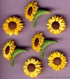 6 x FALL BLOOMS Flower Sunflower Summer Garden Novelty Dress It Up Craft Buttons