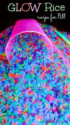 Easy DIY Projects For Kids - How to make glow in the dark NEON rice for play & learning activities- SO FUN crafts ideas!