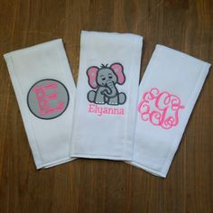 Personalized Burp Cloth Set- Personalized Baby Girl Elephant Burp Cloth Set - Gray and Pink Elephant Burp Cloth-Baby Shower Gift by…