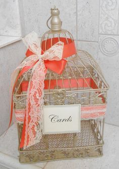 Large Champagne Gold Birdcage Card Holder / Wedding by ThoseDays