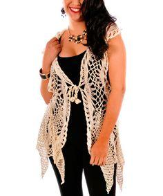 Look at this #zulilyfind! Cream Crochet Hooded Handkerchief Hem Vest - Plus #zulilyfinds