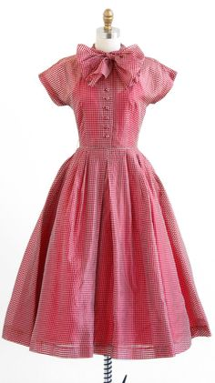 vintage early 1950s red gingham organza party dress | http://www.rococovintage.com