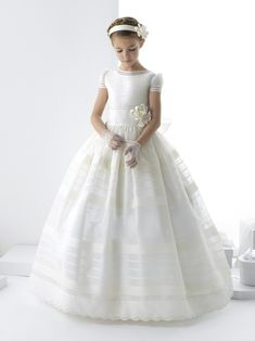 Charming Aline Jewel Short Sleeve Beading Hand Made Flowers Floorlength Organza First Communion Dresses