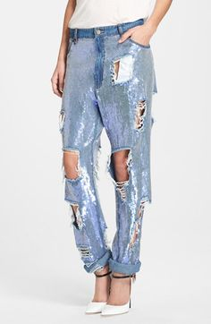 #Ashish Destroyed Sequin Jeans $1655
