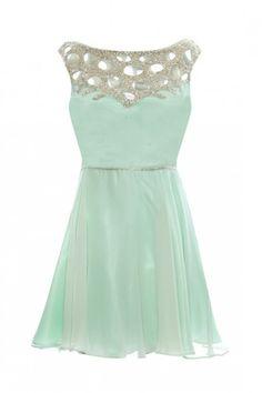 mint green dress with sprarkles #fashion