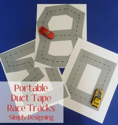 DIY Portable Duct Tape Race Tracks - this is easy, simple and for literally pennies you can create your own portable car tracks for your kids to play with! Perfect for busting boredom or taking on trips! from Simply Designing Duct Tape Crafts, Transportation Theme, Pre Writing, Letter Writing, Operation Christmas Child, Boredom Busters, Race Tracks, Preschool Crafts, Preschool Learning